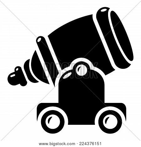 Ancient cannon icon. Simple illustration of ancient cannon vector icon for web.