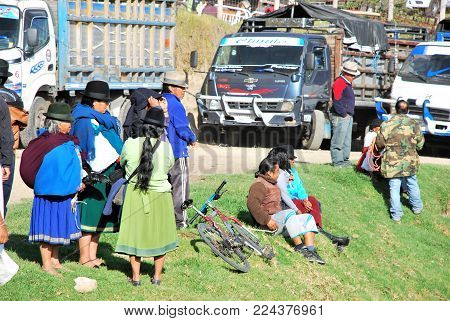 Otavalo, Ecuador January 2016: Scene at the local Farmer's Market in the outskirts of the city.