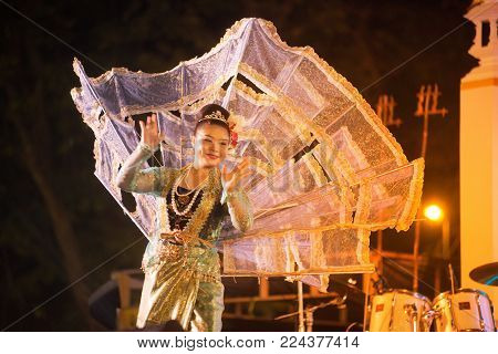 Bangkok, Thailand - Jan 21, 2018 : Unidentified The King Ka La Dancer Is Northern Traditional Thai D