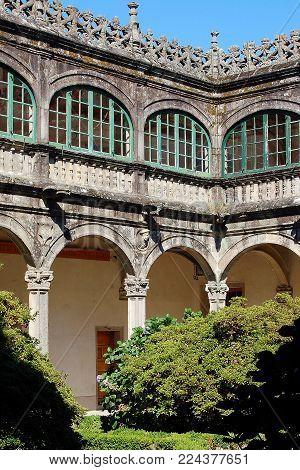 Renaissance courtyard of Fonseca College - Santiago de Compostela, Galicia, Spain, 8 September 2007