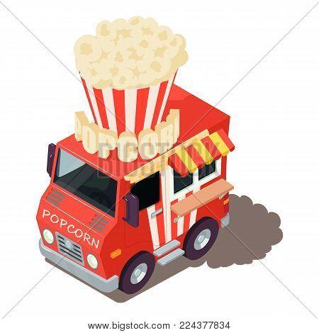 Popcorn machine icon. Isometric illustration of popcorn machine vector icon for web