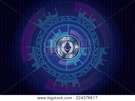 Ethereum cryptocurrency on dark blue background with numbers and sci fi HUD. Vector.