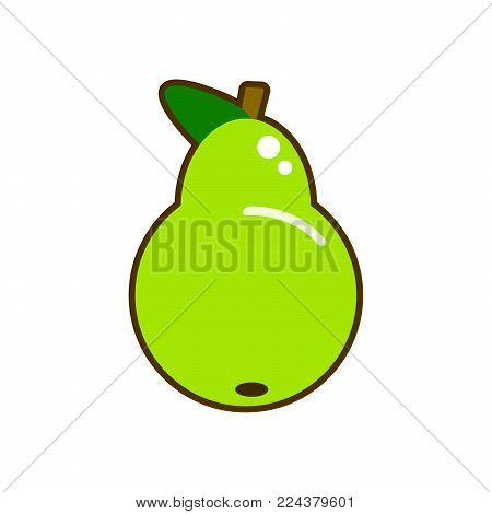Fresh pear icon vector illustration. Green pear icon. Pear icon clipart. EPS
