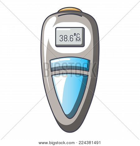 Measuring thermometer icon. Cartoon illustration of measuring thermometer vector icon for web