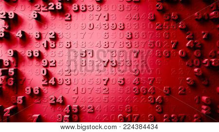 Abstract Numbers Random Motion, 3d Loopable Animation red color