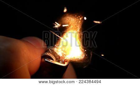 Burning Match, Bright Firelight Black Isolated Background