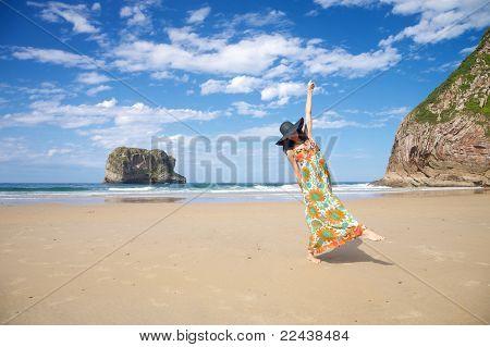 Laughing Woman In Ballota Beach