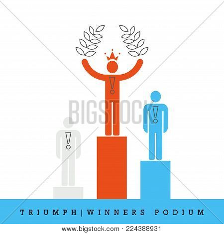 Triumph, Winners Podium Flat Style and Thin Line Vector Icon. First, Second and Third Place. Medals, Crown, Laurel Wreath.