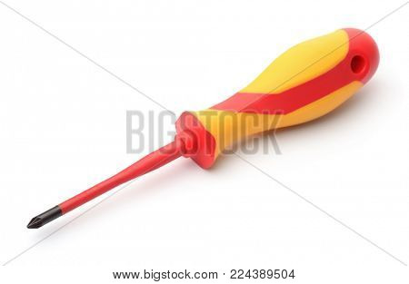 Single cross-head screwdriver isolated on white