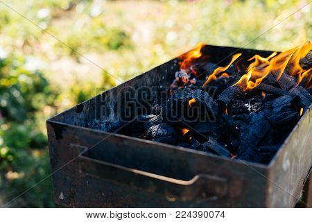 Charcoal is burning in the barbecue, in nature on a picnic