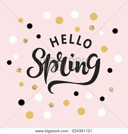 Hello Spring text as logotype, badge and icon. Hand drawn Spring lettering for Warm season Postcard. Template for greeting card, invitation, flyers, web, cover.