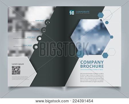 Brochure geometric hexagon layout design template, Annual report, Leaflet, Advertising, poster, Magazine, Business for background, Empty copy space, dark blue color tone vector illustration artwork A4 size.