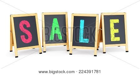 Sidewalk signs with text SALE isolated on white background. Business promotion and marketing concept. 3D illustration