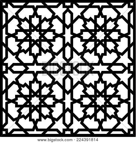 Arabic vector geometric ornament based on traditional arabic art. Muslim mosaic. Turkish, Arabian tile on a white background.