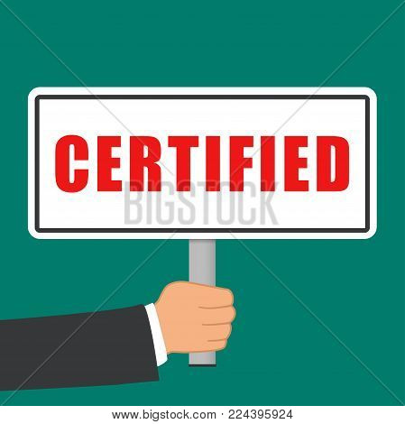 Illustration of certified word sign flat concept