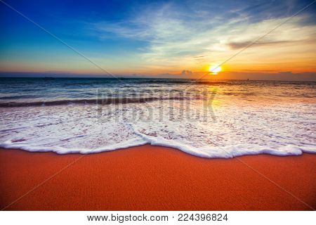 sunset and sea
