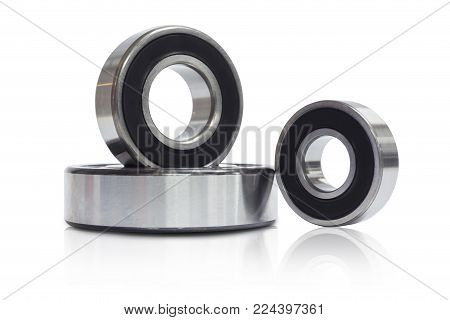 Detailed bearings set production isolated on white background, ball type of bearing with dust sealed and free maintenance, radials support and lubrication system. poster