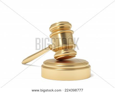 3d rendering of an isolated judge gavel resting on a sound block on a white background. Business and law. Costly lawsuit. Profitable work in court.