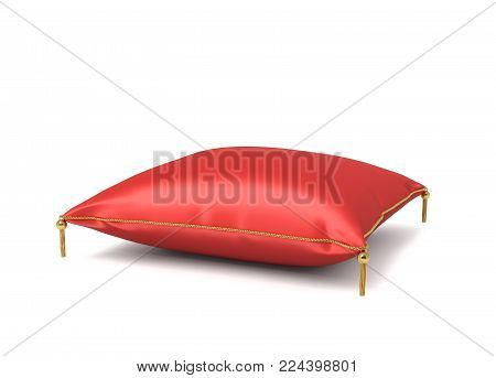 3d rendering of a red silk royal pillow with golden tussels isolated on a white background. Throw pillow. Home design. Decorative textile.