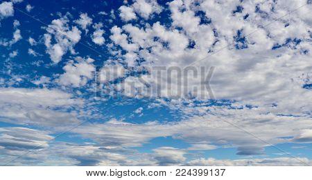 Blue cloudy sky, open cloudy summer sky, cloudy sky