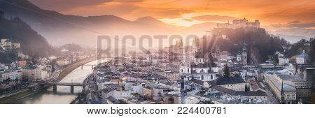 Panoramic view of Salzburg at winter morning sunrise, Austria