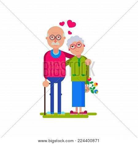 Happy grandparents. Vector flat illustration. Elderly couple Love