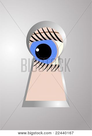 The eye in the keyhole.