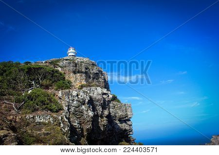 Breathtaking View Near Cape Point With Lighthouse, South Africa