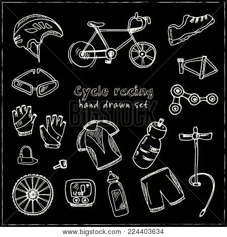 Hand Drawn Doodle Cycle Racing Set. Vector Illustration. Isolated Elements On Chalkboard Background.