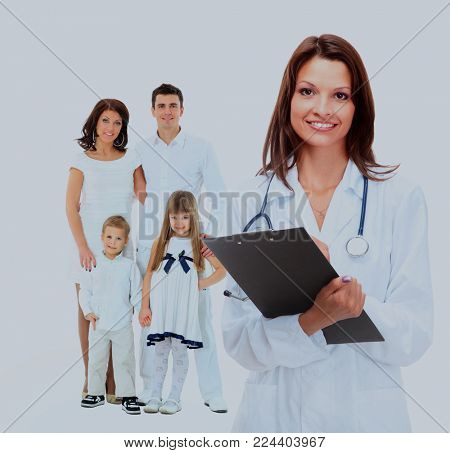 female family doctor on the background of a happy family.