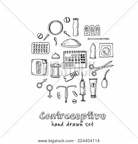 Hand Drawn Doodle Contraceptive Set. Vector Illustration. Isolated Elements On White Background. Sym