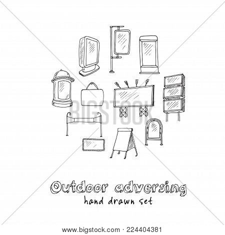 Hand Drawn Doodle Outdoor Adversing Set. Vector Illustration. Isolated Elements On White Background.