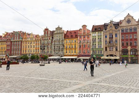 WROCLAW - POLAND, JUNE 13, 2017 : Main market square ,colorful tenement houses, Lower Silesia. It is one of the largest markets in Europe