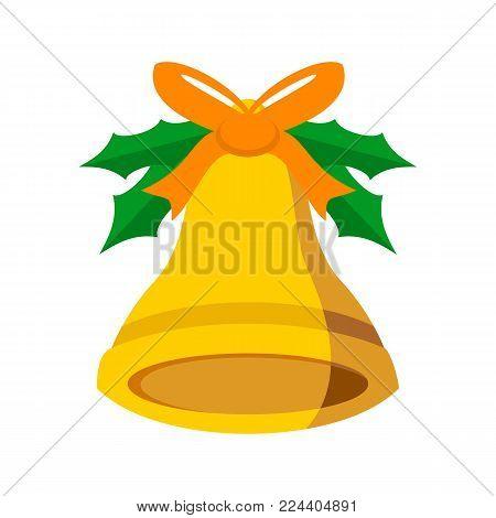 Jingle Bell Orange Ribbon Vector Graphic Illustration Sign Symbol Design