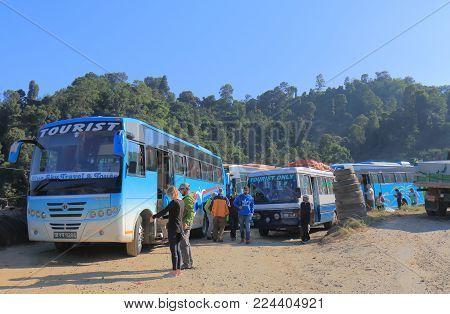 Pokhara Nepal - November 6, 2017: Unidentified People Travel By Tourist Bus In Pokhara Nepal.