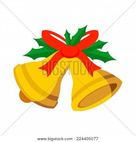 Jingle Bells Ribbon Vector Graphic Illustration Sign Symbol Design