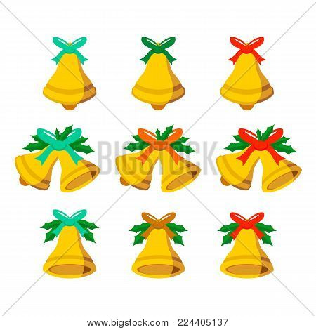 Jingle Bells Vector Vector Graphic Illustration Sign Symbol Design Set