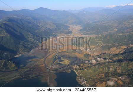 Phewa Lake Pokhara Town Arial Cityscape Nepal