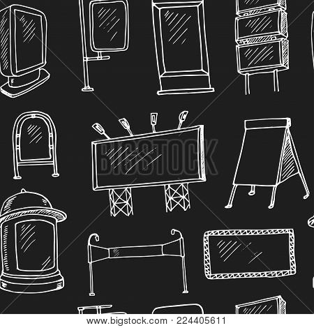 Hand Drawn Doodle Outdoor Adversing Seamless Pattern Vector Illustration. Symbol Collection.