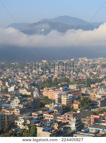 Pokhara Town Arial Cityscape In Pokhara Nepal