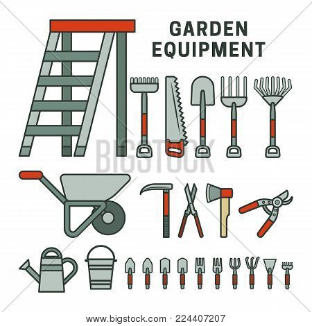 Garden tools set, gray and red color. Strokes not expanded. Outlines not converted to objects