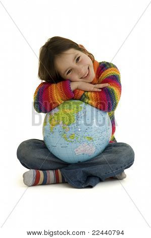 young girl embracing the world globe isolated on white