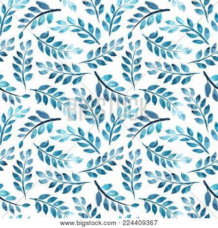 Seamless pattern of blue watercolor branches on white background, raster illustration, textile, wallpaper, wrapping paper design. Seamless pattern with watercolor branches on white background