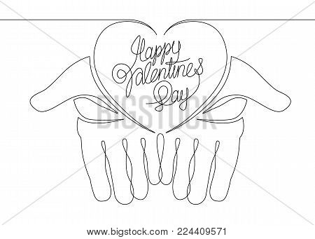 Continuous line one hand silhouette of palms with a heart. Happy Valentine's day . Greeting card