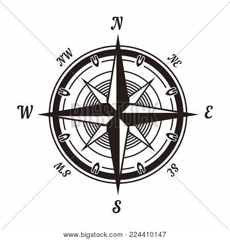 Rose of wind monochrome emblem with sides of world isolated cartoon flat vector illustration on white background. Standard navigation system that helps to orientate on water in form of star in circle.