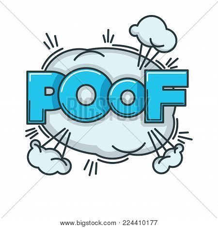 Visualization of poof sound with big fluffy cloud and huge thick blue sign. Sketch of comic noise of disappearance or small burst isolated cartoon flat vector illustration on white background.