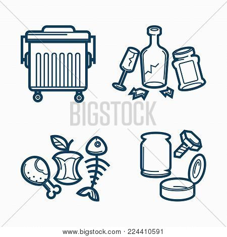 Metal trash can and dirty rubbish. Broken bottle and glass, used empty jars, fish skeleton, apple remnants and bitten chicken leg isolated cartoon flat vector illustrations set on white background.