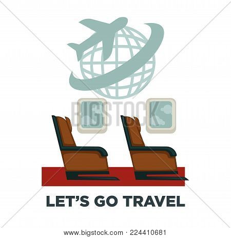 Travel or air world trip vector flat icon of airplane seats and window, aircraft and globe. Vector design for tourism agency or summer vacations or airplane travel voyage journey