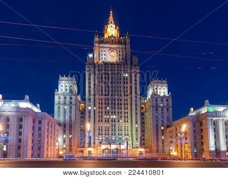 Ministry Of Foreign Affairs Building With Illumination (stalin Skyscraper) At Night In Moscow, Russi