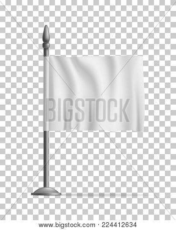White waving flag streamer, template, isolated on transparent background. Outdoors information ridgepole for inscriptions, slogans, mottos and so on. Vector illustration of canvas